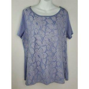 Lane Bryant Purple Scalloped Lace Overlay Shirt 1X